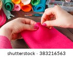 closeup of woman hands sewing... | Shutterstock . vector #383216563