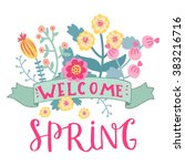 welcome spring card. cute ... | Shutterstock .eps vector #383216716
