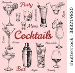 set of sketch cocktails and... | Shutterstock .eps vector #383219830