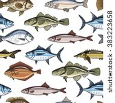 fish seamless pattern. fish... | Shutterstock .eps vector #383223658