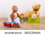 potty training teddy toy monkey   Shutterstock . vector #383228464