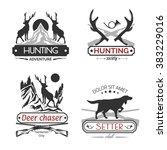 set of hunting labels.   Shutterstock .eps vector #383229016