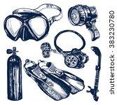 scuba diving equipment sketch... | Shutterstock .eps vector #383230780