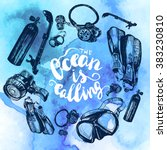 scuba diving equipment sketch... | Shutterstock .eps vector #383230810