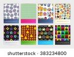 set of eight seamless pattern...   Shutterstock .eps vector #383234800