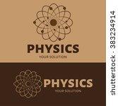 vector logo physics. the atom... | Shutterstock .eps vector #383234914