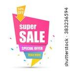 super sale paper banner.... | Shutterstock .eps vector #383236594