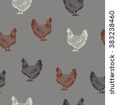 hand drawn chicken seamless... | Shutterstock .eps vector #383238460