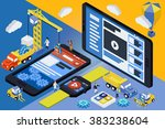 black mobile vector phone ... | Shutterstock .eps vector #383238604