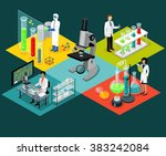 science lab isomatric design... | Shutterstock . vector #383242084
