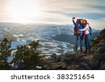 couple tourists woman and man... | Shutterstock . vector #383251654