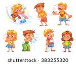children get sick. child has... | Shutterstock .eps vector #383255320