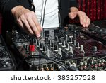 dj at nightclub party playing... | Shutterstock . vector #383257528