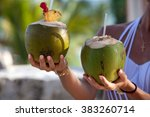 Two Fresh Coconut Cocktails In...