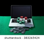 casino chips and cards on... | Shutterstock . vector #383265424