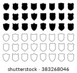 large set of shields isolated... | Shutterstock .eps vector #383268046