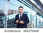 attractive young businessman... | Shutterstock . vector #383270668
