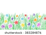 wax crayon hand drawn green... | Shutterstock .eps vector #383284876