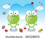pink frog couple   Shutterstock .eps vector #38328853