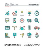 navigation  direction  maps ... | Shutterstock .eps vector #383290990