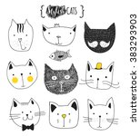 cats  set of cute doodle.... | Shutterstock .eps vector #383293903