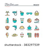 tropical beach  summer ... | Shutterstock .eps vector #383297539