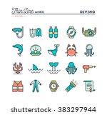 scuba diving  underwater... | Shutterstock .eps vector #383297944