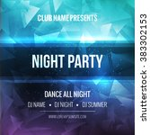night dance party poster... | Shutterstock .eps vector #383302153