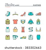 Stock vector clothing thin line color icons set vector illustration 383302663