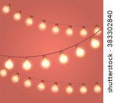 realistic festive lights.... | Shutterstock .eps vector #383302840