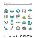 pets  thin line color icons set ... | Shutterstock .eps vector #383303704