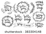 Hand Drawn Spring Wreaths With...