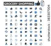 grocery shopping icons | Shutterstock .eps vector #383307004