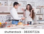 man and woman in the kitchen... | Shutterstock . vector #383307226