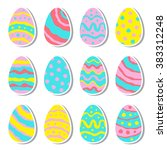 hand drawn vector easter eggs... | Shutterstock .eps vector #383312248