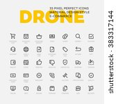 drone icons. set of 35 flat... | Shutterstock .eps vector #383317144