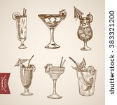 cocktail creme liquor aperitif... | Shutterstock .eps vector #383321200