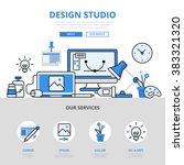 design studio workplace device... | Shutterstock .eps vector #383321320