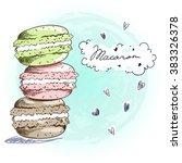 sweet delicious doodle macaro...   Shutterstock .eps vector #383326378