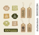 set of eco friendly fabric tag... | Shutterstock .eps vector #383330284