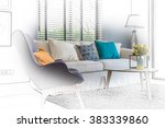 sketch design of modern living room with modern chair and sofa at home