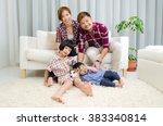 beautiful asian family enjoying ... | Shutterstock . vector #383340814
