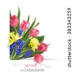 spring background with blooming ... | Shutterstock .eps vector #383343259