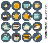 set of cute teatime cartoon... | Shutterstock .eps vector #383344444
