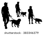 Stock vector a man walking with a dog on a leash silhouette on a white background 383346379