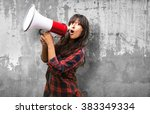 latin girl shouting with... | Shutterstock . vector #383349334