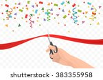 hand holding scissors and... | Shutterstock .eps vector #383355958