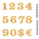 gold numbers and currency signs ... | Shutterstock . vector #383359414