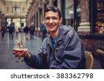 a man drinking beer in a public ... | Shutterstock . vector #383362798
