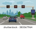 road to city. vector flat... | Shutterstock .eps vector #383367964
